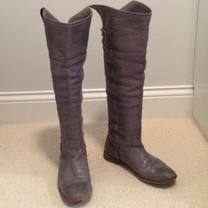 Tall Gray Leather Frye Buckle Boots